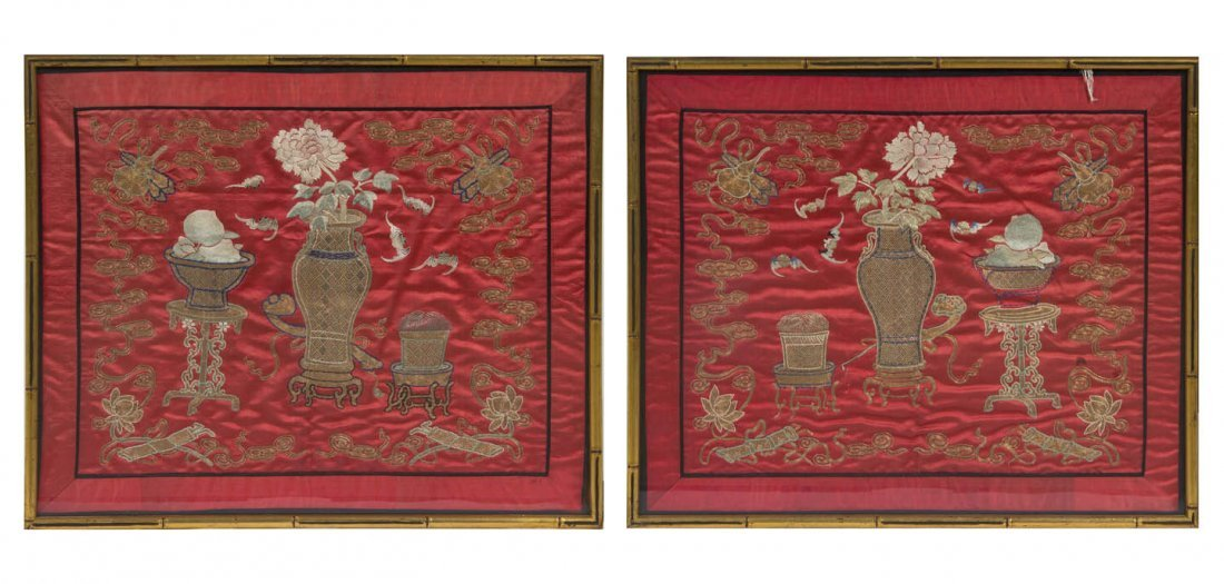 2728: A Pair of Chinese Embroideries, Height 17 1/2 x w