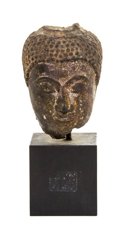2731: A Chinese Carved Sandstone Bust of Buddha, Height
