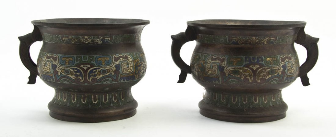 2736: A Pair of Chinese Cloisonne Jardinieres, Height 9