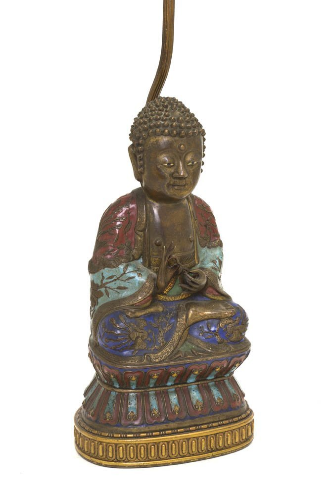 2737: A Chinese Cloisonne Figure of Buddha, Height 10 3