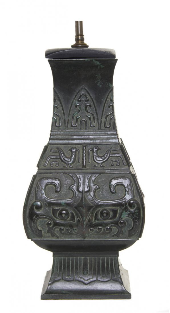 2738: A Chinese Archaistic Style Bronze Vase, Height 15
