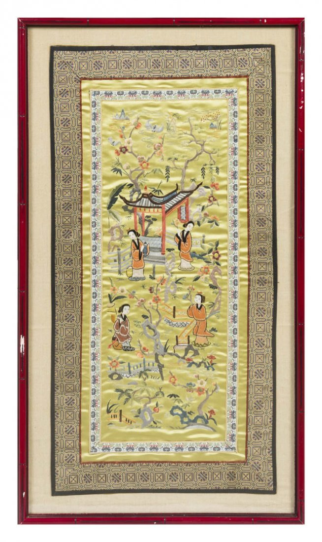 2739: A Chinese Needlework Panel, Height 25 1/2 x width