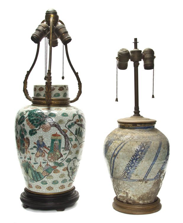2742: Two Chinese Porcelain Ginger Jars, Height of tall