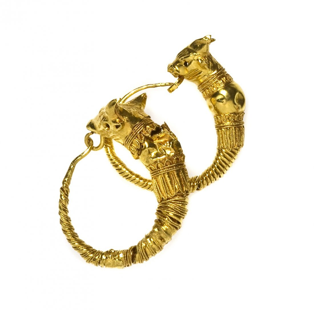 2: A Pair of Hellenistic Yellow Gold Earrings, 3rd Cent