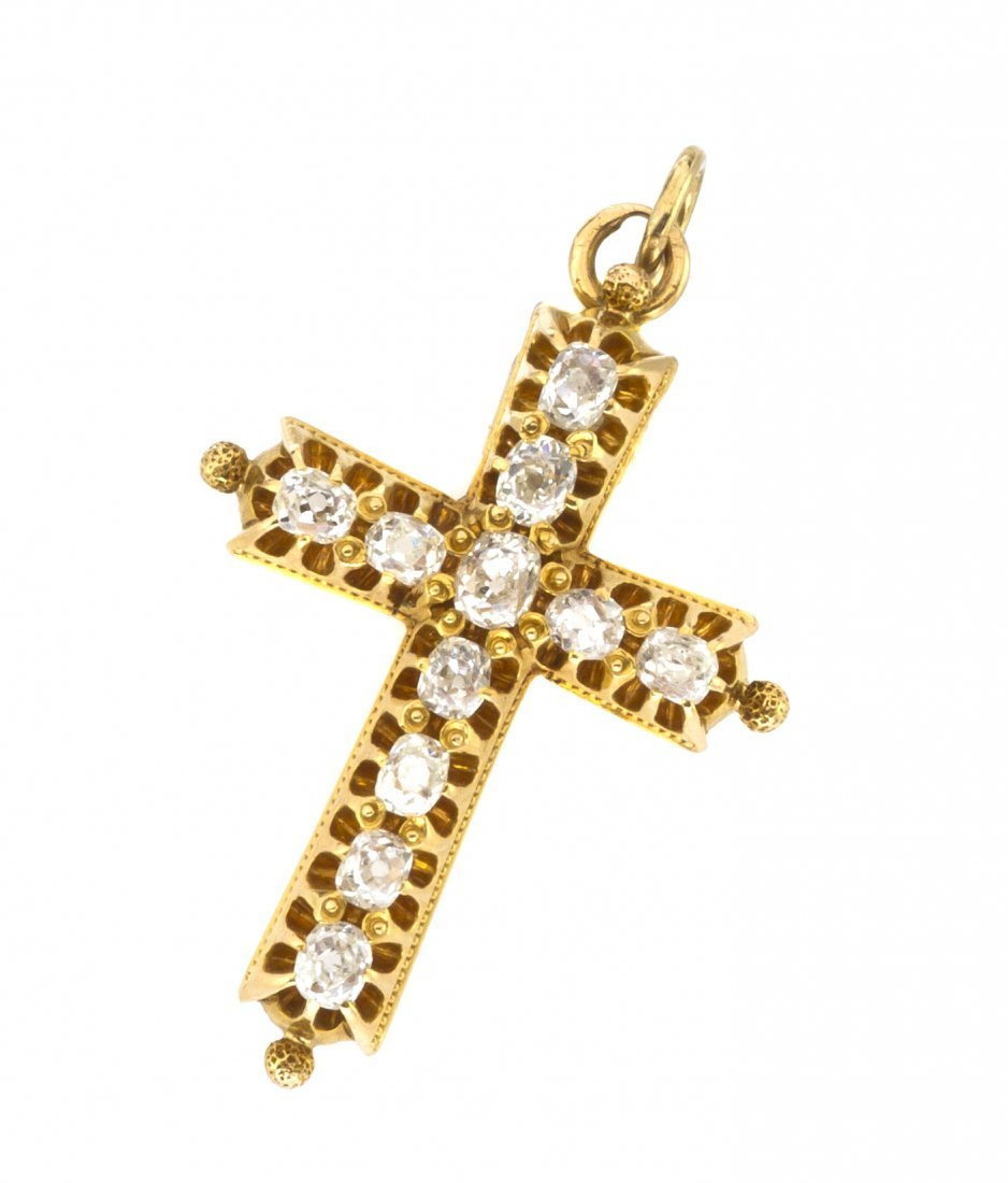 5: A Victorian Yellow Gold and Diamond Cross Pendant, 2