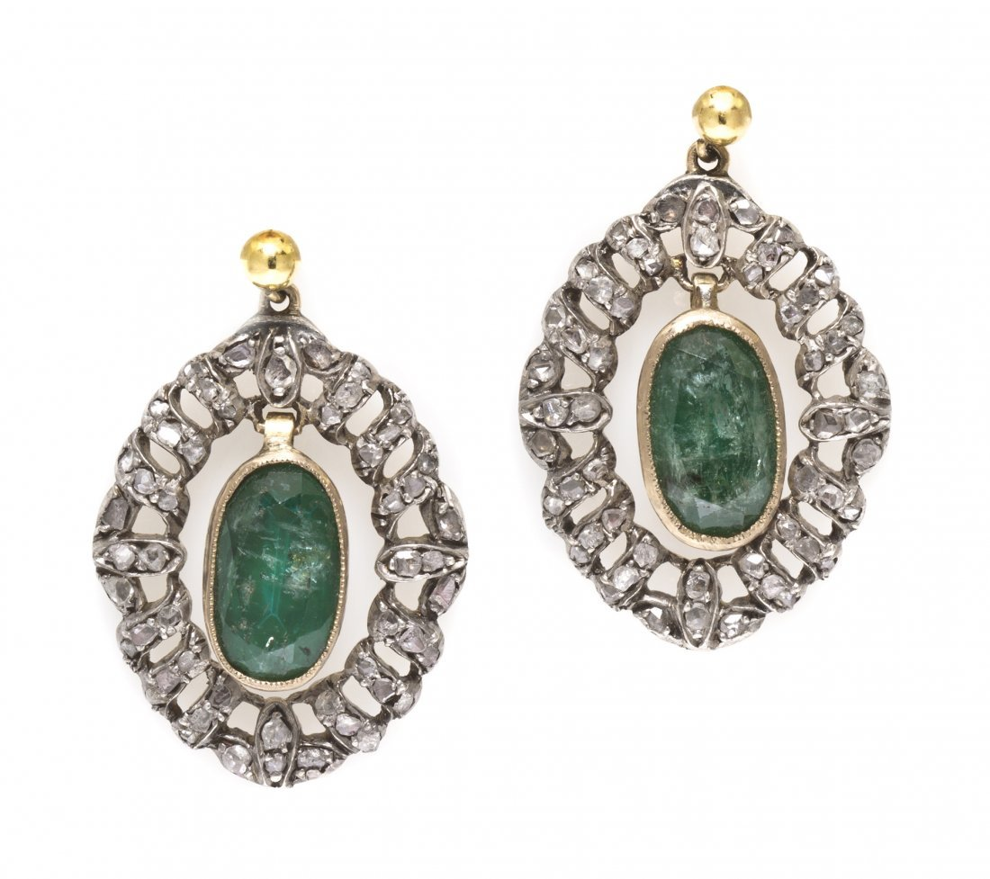 7: A Pair of Victorian Silver Topped Gold, Emerald and