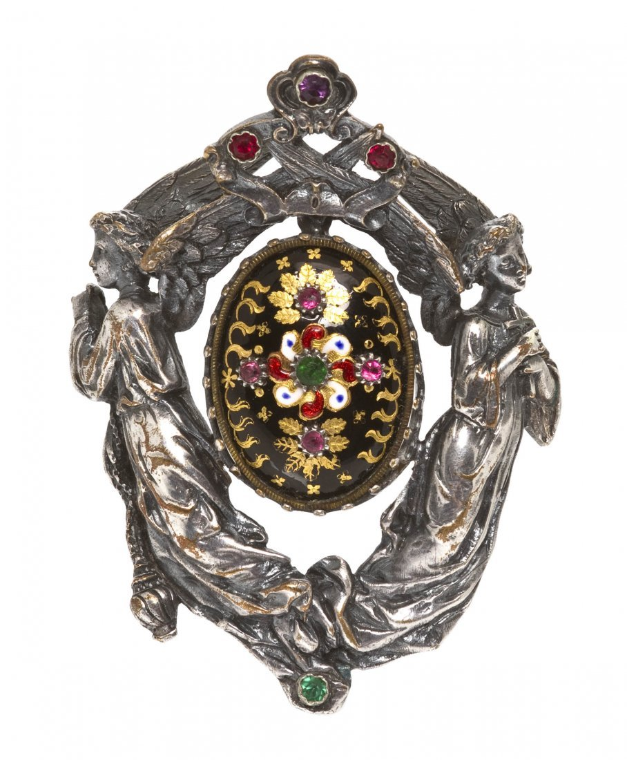 11: An Antique Paste and Polychrome Enamel Brooch, 20.1