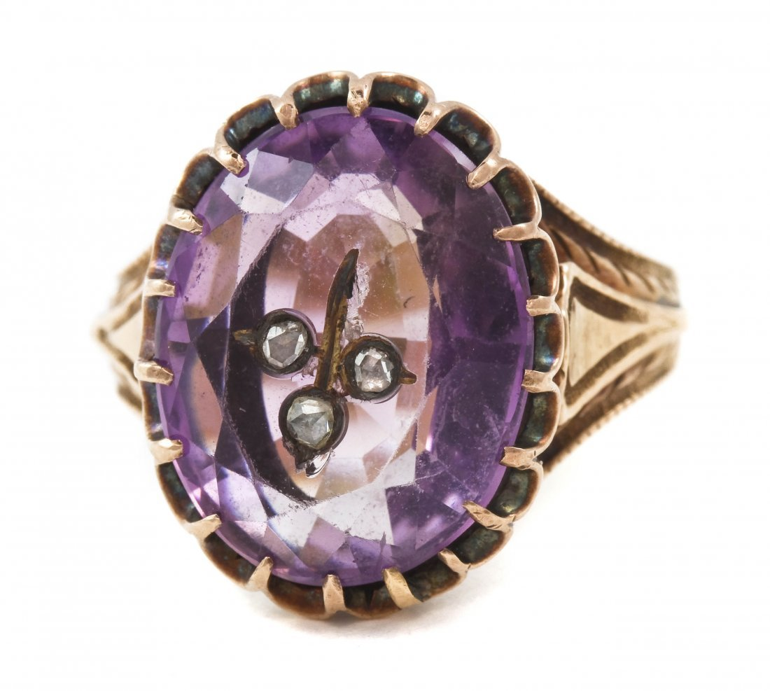 17: A Victorian Rose Gold, Amethyst and Diamond Ring, 5