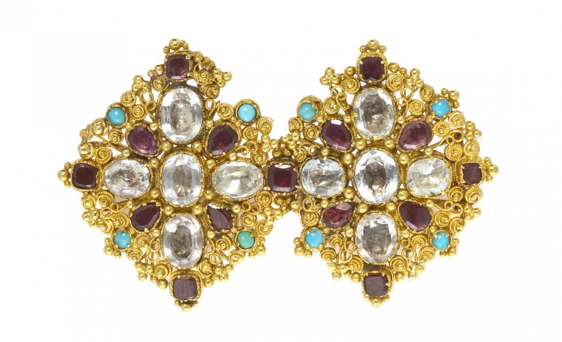 18: A Victorian Yellow Gold, Aquamarine, Garnet and Tur