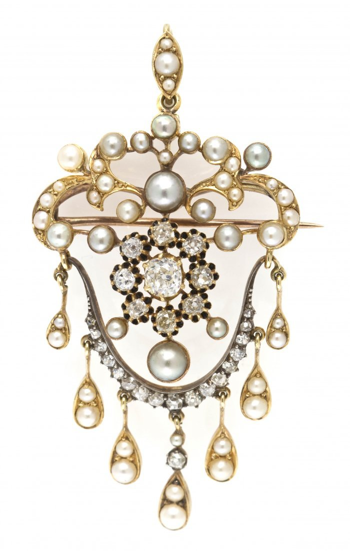 20: A Victorian Yellow Gold, Silver, Diamond and Pearl