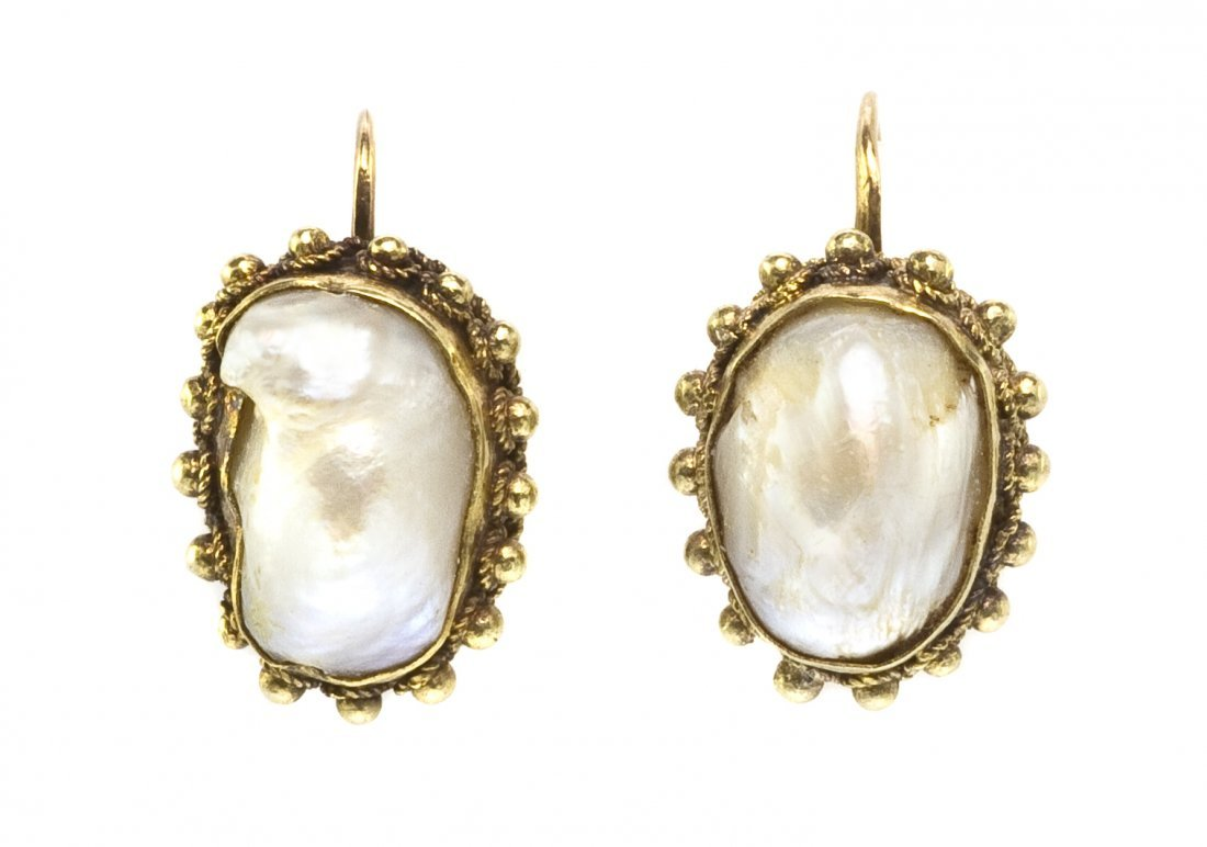 21: A Pair of Antique Yellow Gold and Baroque Pearl Ear