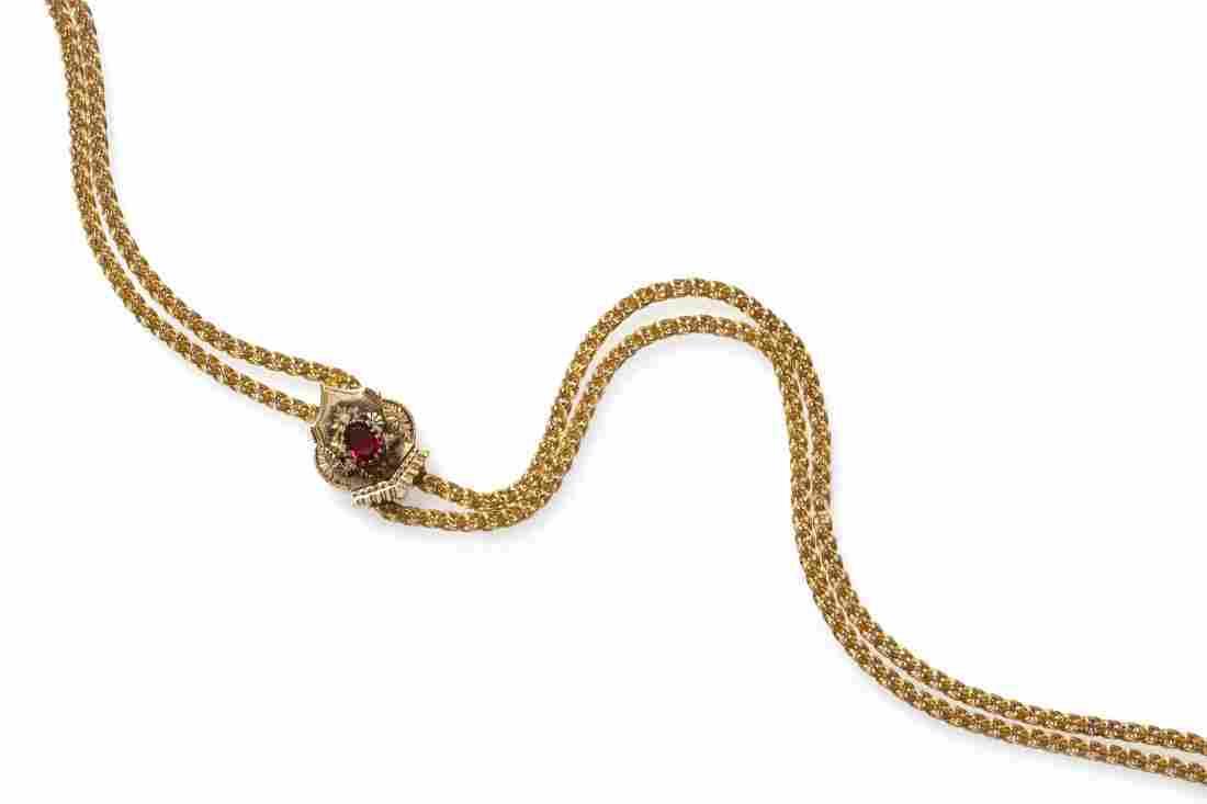 25: A Victorian 14 Karat Yellow Gold, Garnet and Pearl