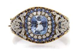 An Edwardian Gold, Sapphire, Diamond and Enamel Bra