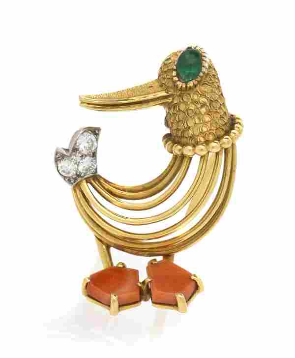 A Vintage 18 Karat Yellow Gold, Coral, Emerald and