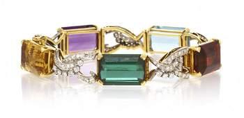 139: A 14 Karat Gold, Multi Gem and Diamond Bracelet, 2