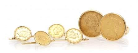 190: A 14 Karat Yellow Gold and US Gold Coin Dress Set,