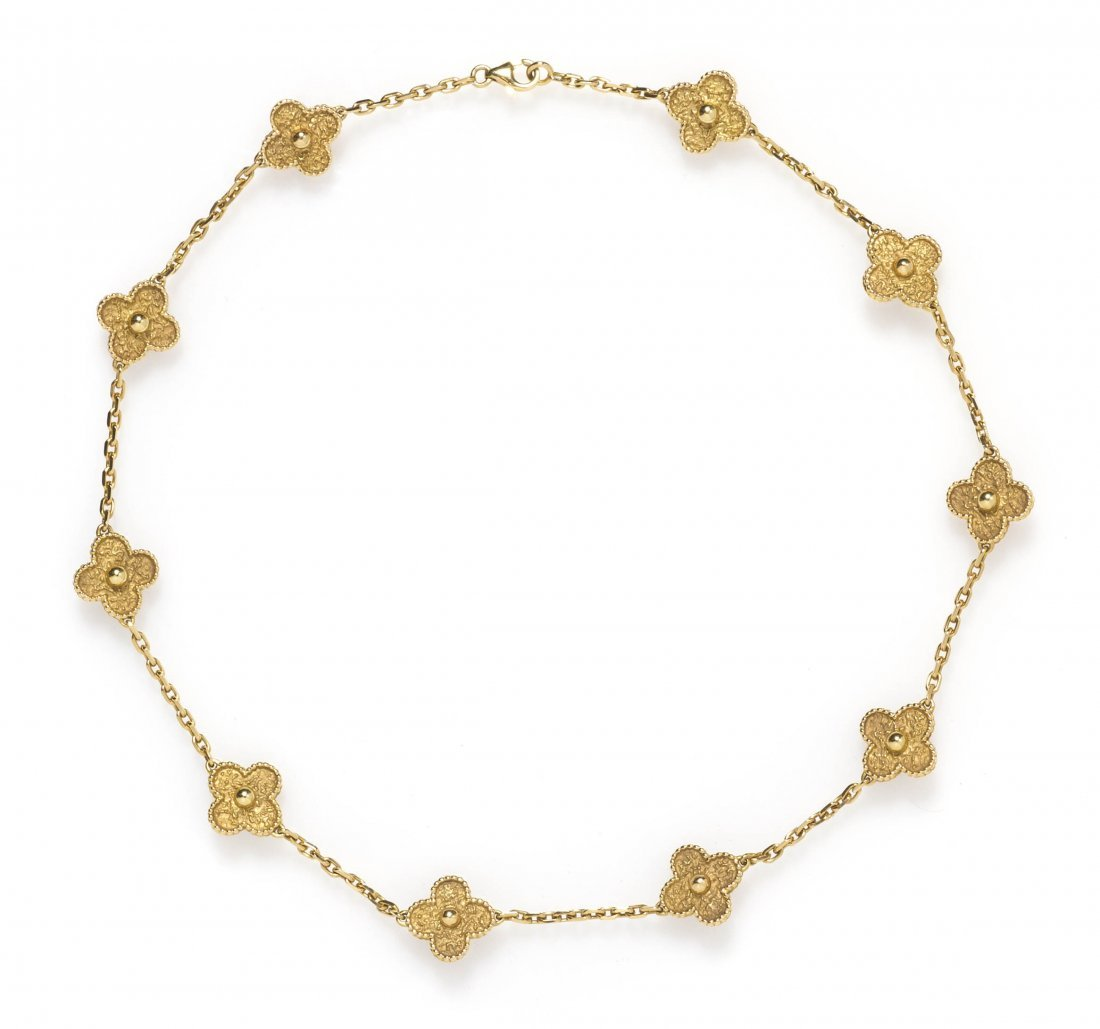 252: An 18 Karat Yellow Gold Alhambra Necklace, Van Cle