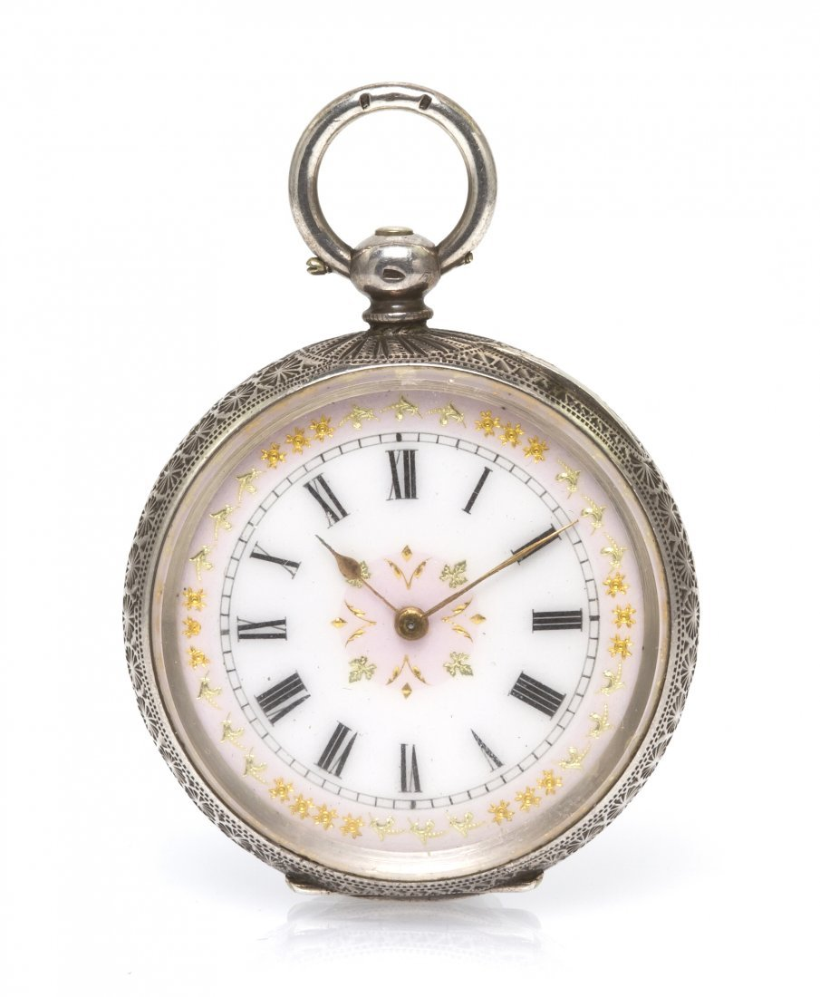 355: A Silver Open Face Key Wound Pocket Watch, Swiss,