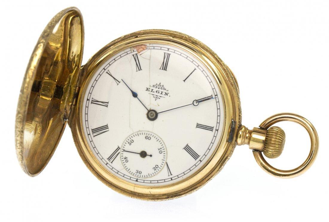 360: A 14 Karat Yellow Gold Hunter Case Pocket Watch, E