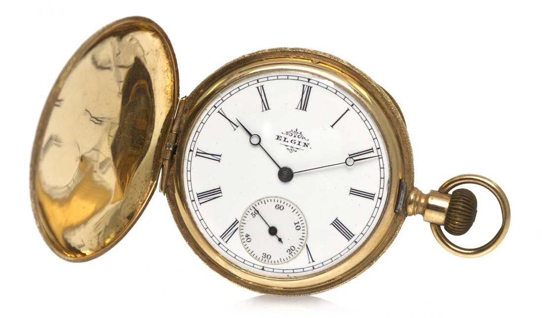 361: A 14 Karat Yellow Gold Hunter Case Pocket Watch, E