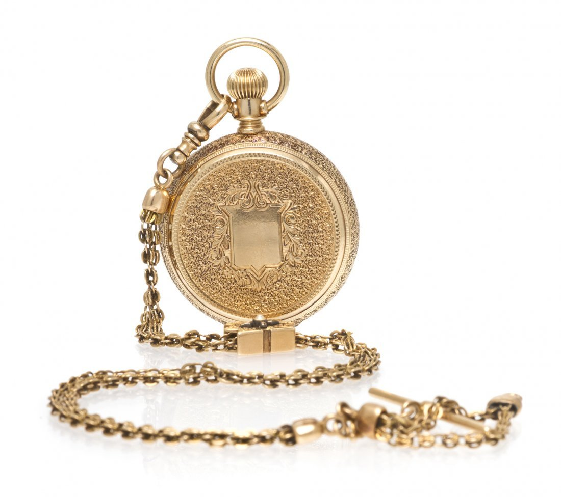 366: A 14 Karat Yellow Gold Hunter Case Pocket Watch on