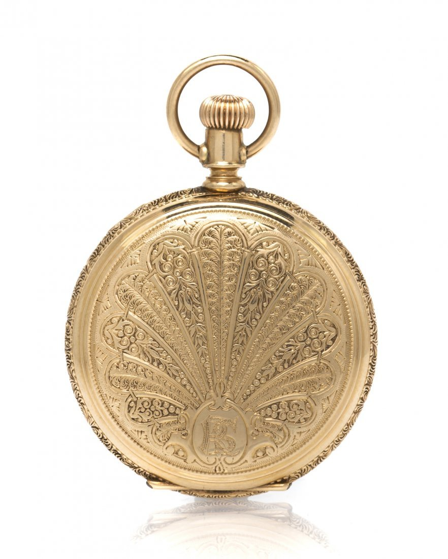 367: A 14 Karat Yellow Gold Hunter Case Pocket Watch, W