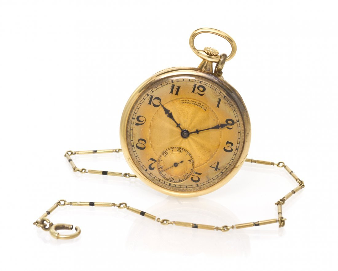 369: An 18 Karat Yellow Gold Open Face Pocket Watch, Pa