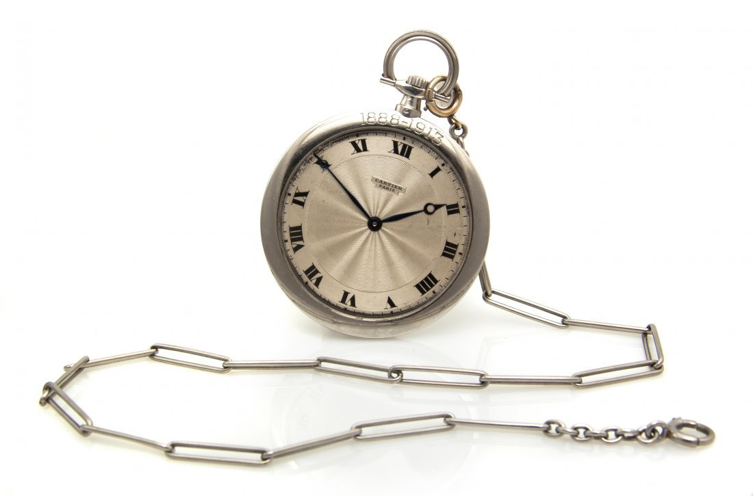 371: A Platinum Open Face Pocket Watch, Cartier, 45.00