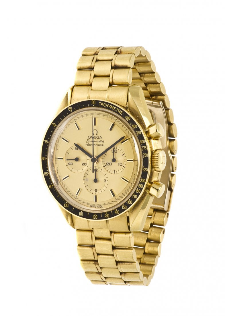 420: An 18 Karat Yellow Gold Apollo XI Speedmaster Wris