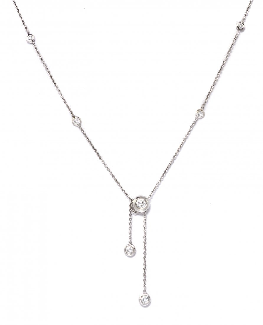 617: An 18 Karat White Gold and Diamond Necklace, 2.00