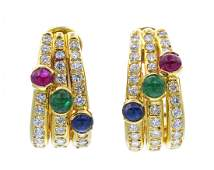 843 A Pair of 18 Karat Yellow Gold Ruby Emerald Sap