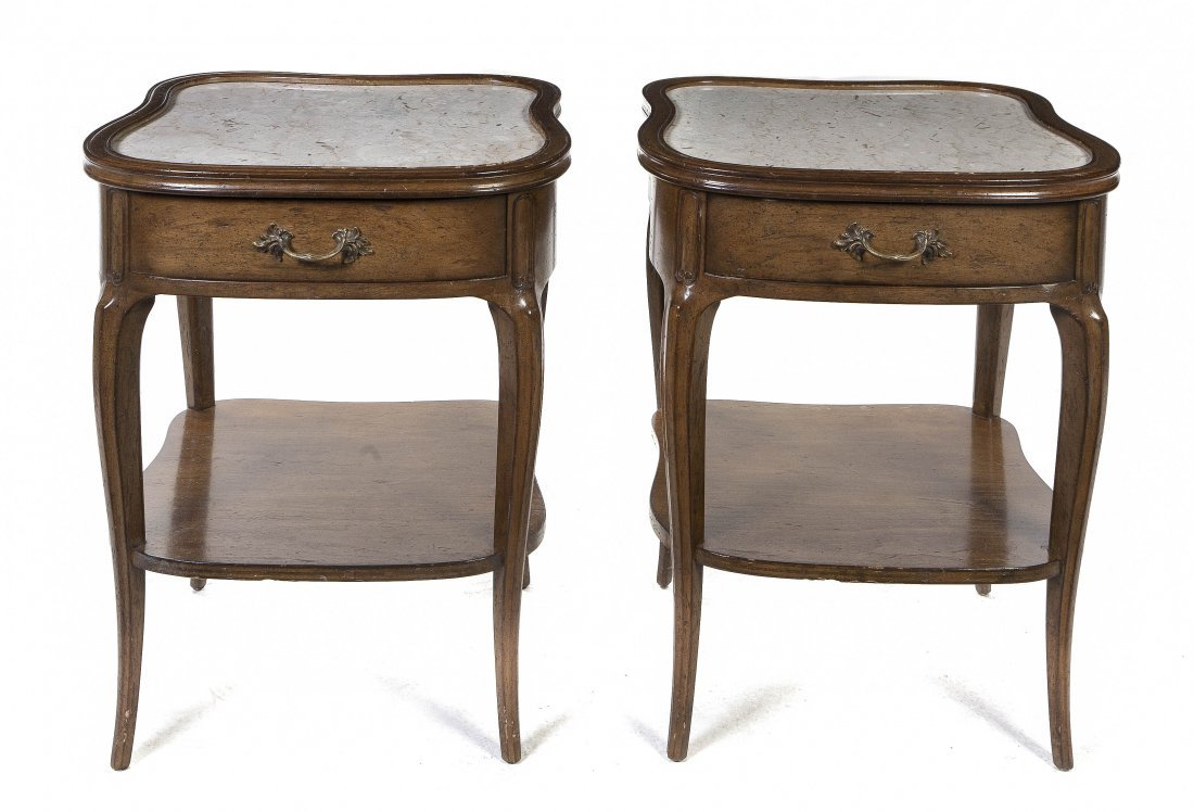 2004: A Pair of Provincial Style End Tables, Height 26