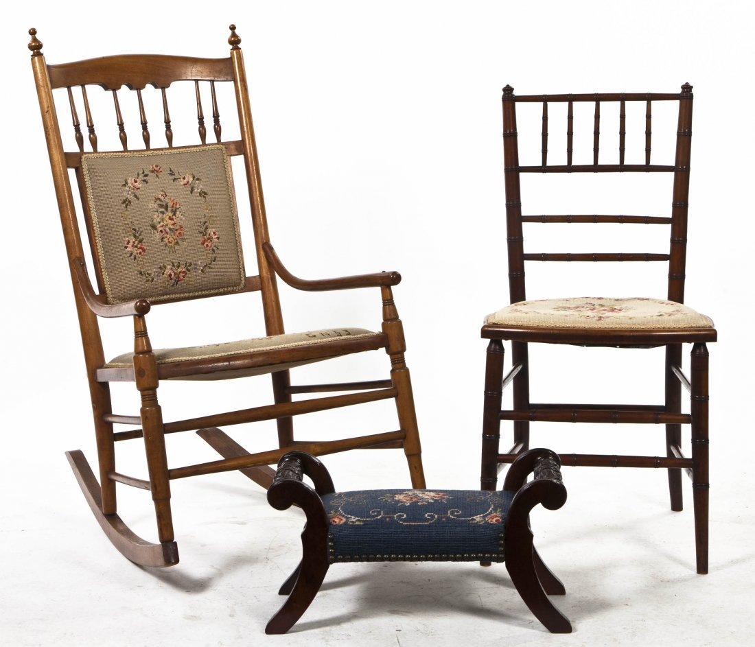 2011: Two Needlepoint Upholstered Chairs, Height 37 1/2