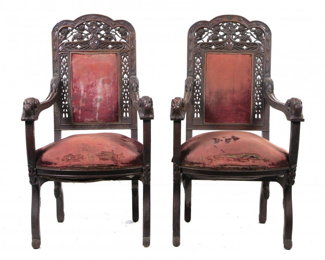 2024: A Pair of Renaissance Revival Carved Open Armchai