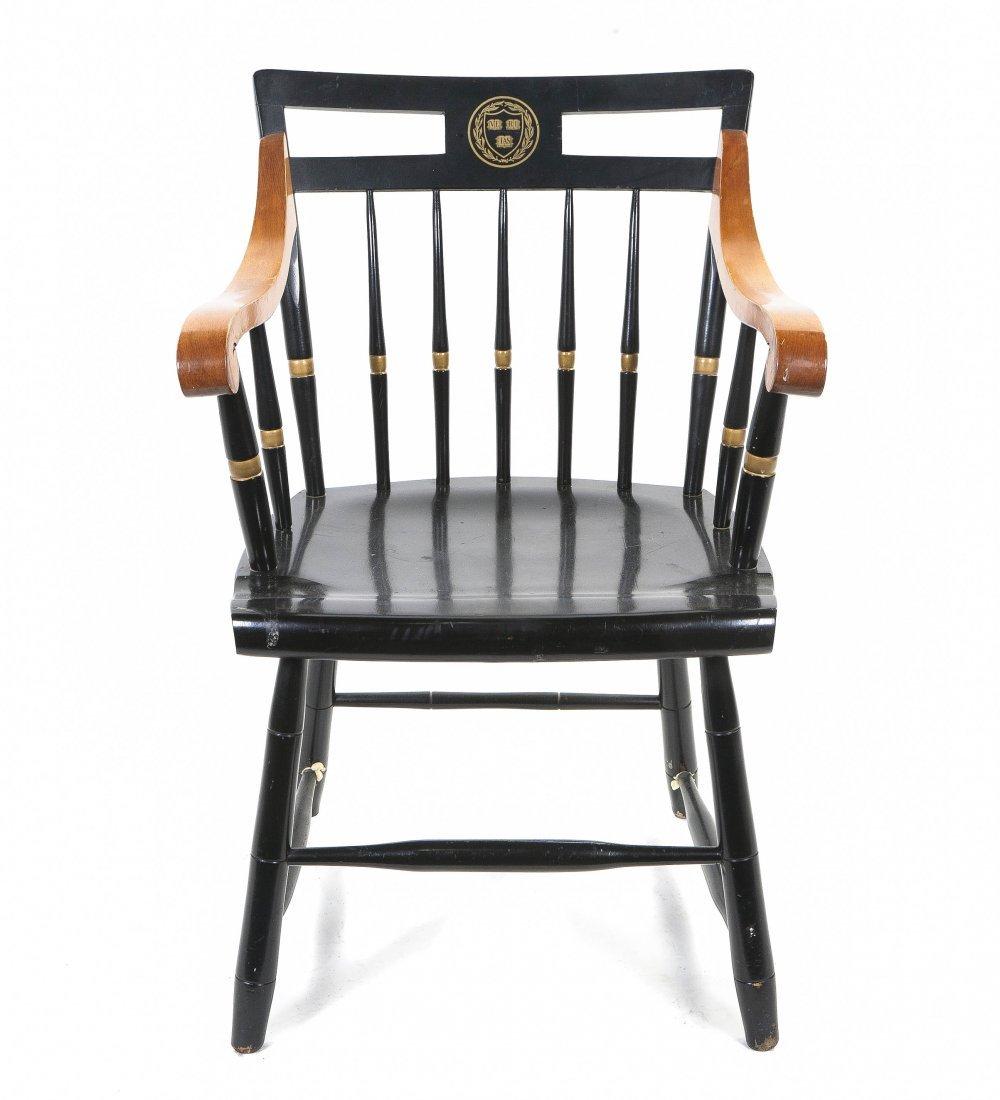 2049: An American Ebonized Windsor Arm Chair, Height 33