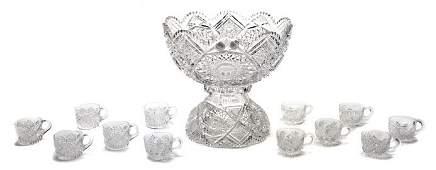 2231 An American Brilliant Period Cut Glass Punch Bowl