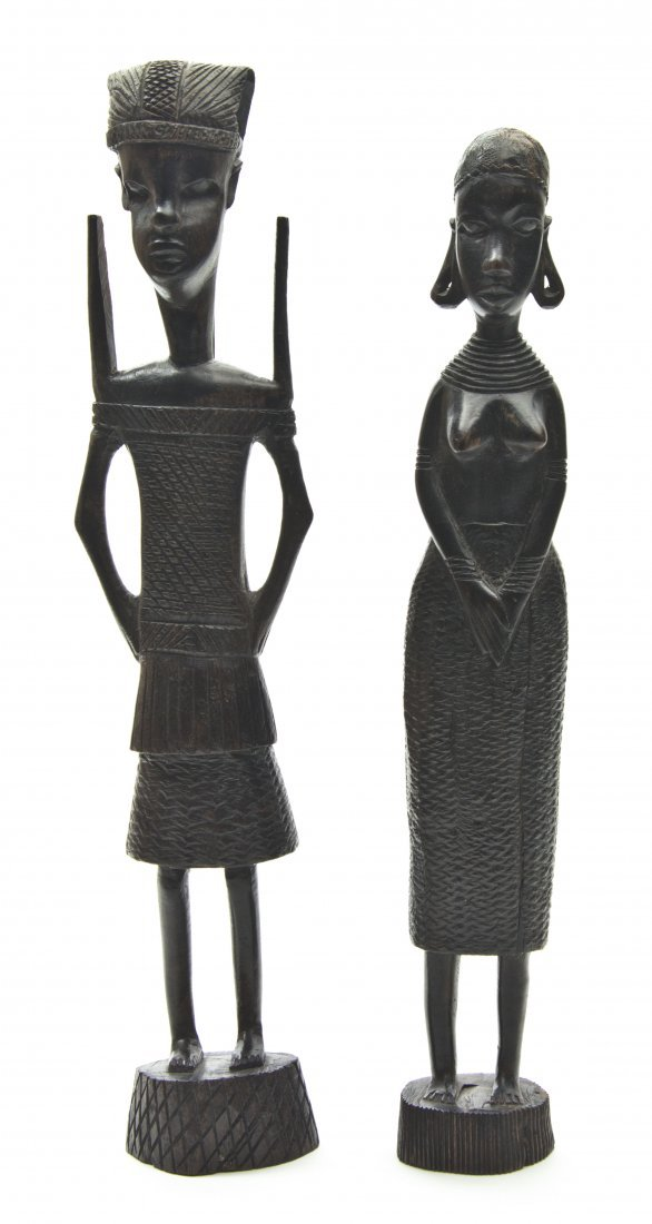 2434: Two African Carved Wood Figures, Height of talles
