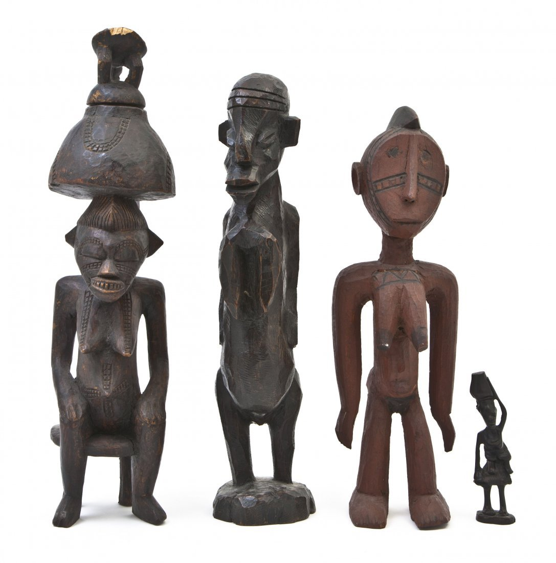 2439: Four African Carved Figures, Height of tallest 18