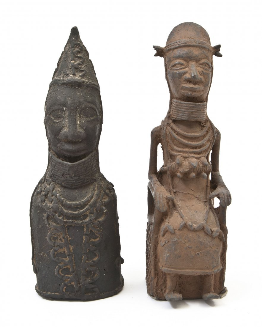 2441: Two Benin Style Bronze Figures, Height of tallest