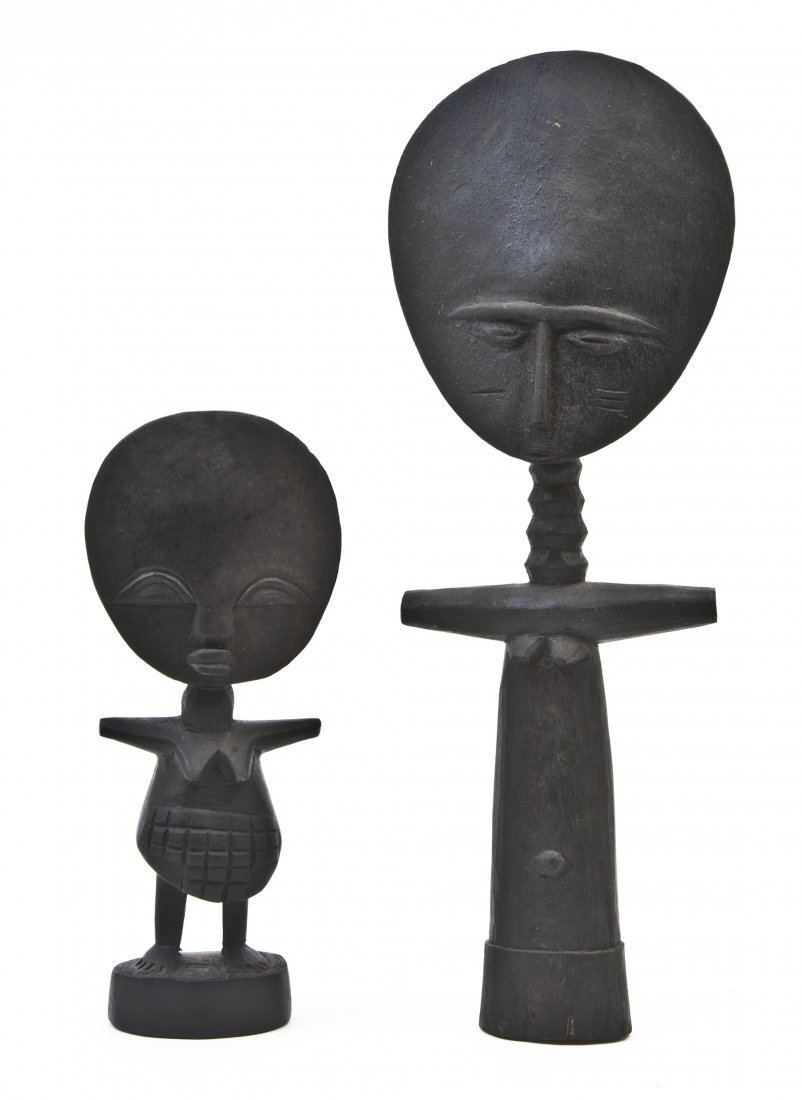 2449: Two Carved Wood Akuaba Figures, Height of tallest