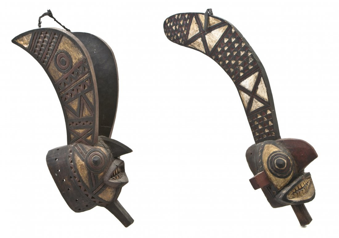 2451: Two African Gurunsi Style Carved Masks, Height of
