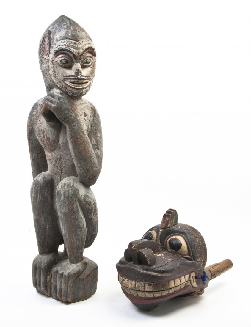 2454: A Southeast Asian Carved and Painted Figure, Heig