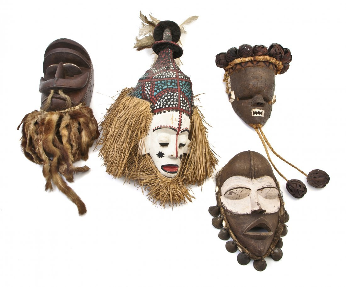 2456: Four African Carved Wood Masks, Length of longest