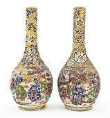 2660: A Pair of Japanese Moriage Bottle Vases, Height 1