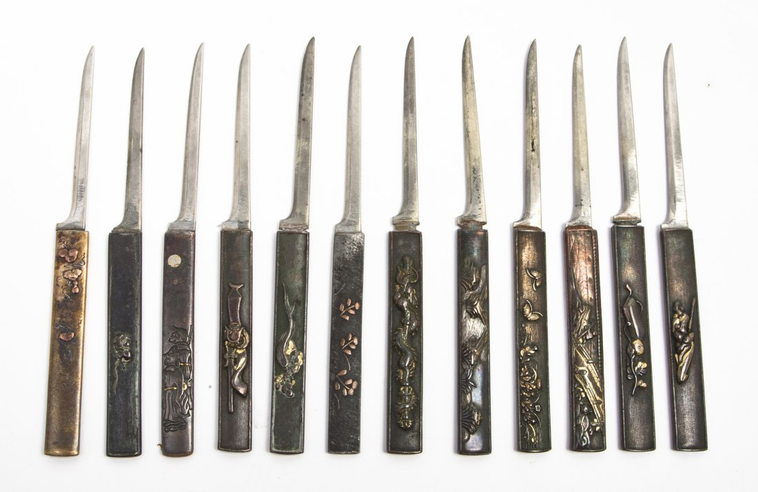 2668: A Set of Twelve Japanese Mixed Metal Fruit Knives