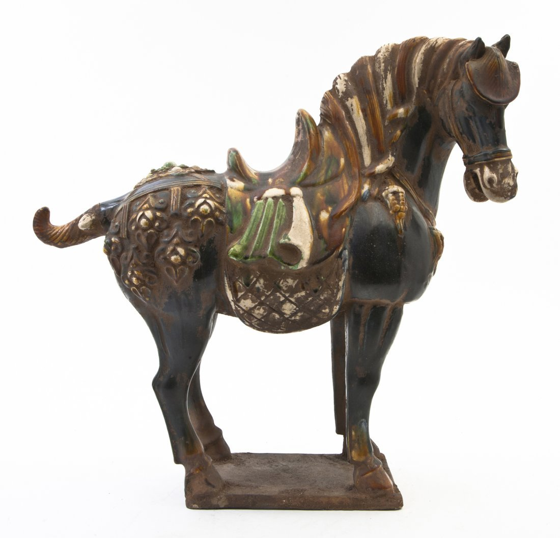 2676: A Tang Style Sancai Glazed Horse, Height 18 inche