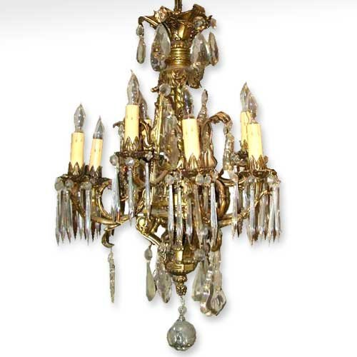 2: A French Louis XIV Style Bronze and Crystal Chandeli