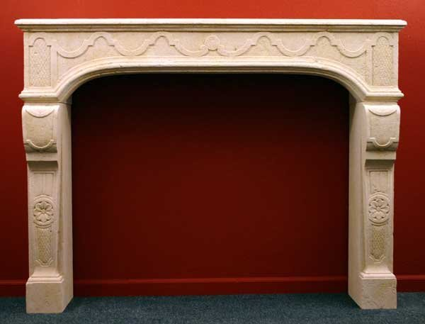 3: A French Louis XIV Style Limestone Fireplace Surroun
