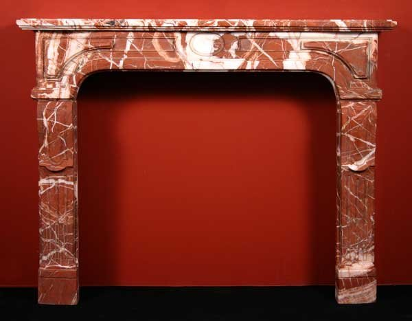 5: A French Louis XIV Style Rouge Royale Marble Firepla