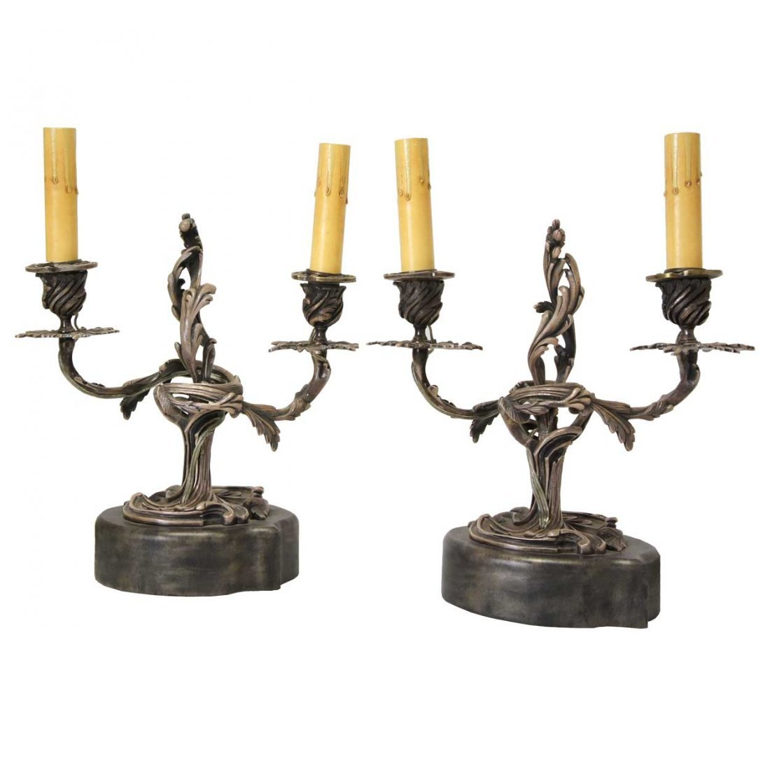 6: A Pair of Louis XV Style Silver-plate Two-Light Cand